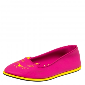 Charlotte Olympia Pink Rubber Kitty Flats Size 41 - used