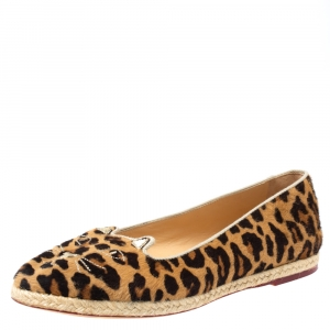 Charlotte Olympia Brown Animal Print Calf Hair Kitty Slip On Loafers Size 40