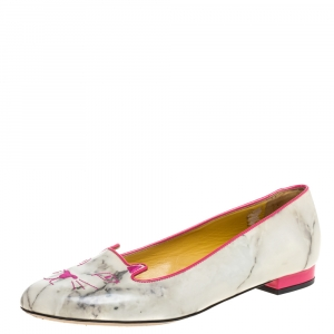 Charlotte Olympia Light Grey/Pink Marble Leather Kitty Flats Size 41 - used