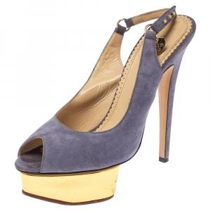 Charlotte Olympia Lilac Suede Slingback Peep Toe Platform Sandals Size 38