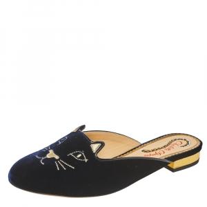 Charlotte Olympia Blue Velvet Kitty Slip On Flat Mules Size 38
