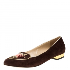 Charlotte Olympia Brown Suede Bull Smoking Slippers Size 40 - used