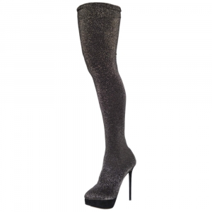 Charlotte Olympia Glitter Stretch Fabric Stocking Thigh High Boots Size 38 - used
