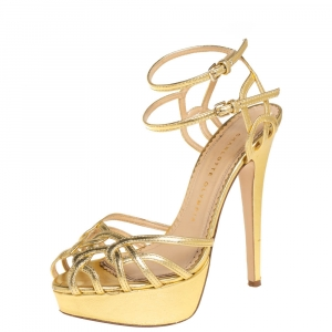 Charlotte Olympia Gold Leather Octavia Platform Ankle Strap Sandals Size 37.5