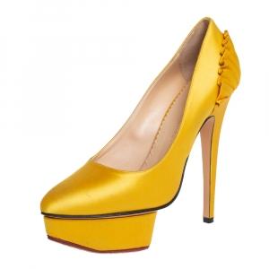 Charlotte Olympia Yellow Satin Paloma Fan Pleat Platform Pumps Size 36.5