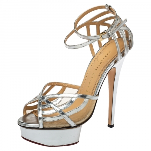 Charlotte Olympia Silver Leather Octavia Platform Ankle Strap Sandals Size 38
