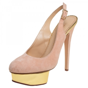 Charlotte Olympia Beige Suede Dolly Platform Slingback Sandals Size 37.5 - used