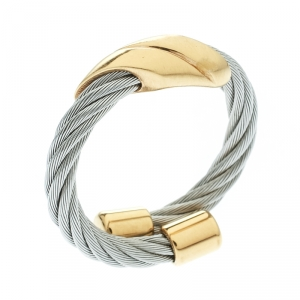 Charriol Gold Tone Motif Twisted Cable Silver Tone Adjustable Ring