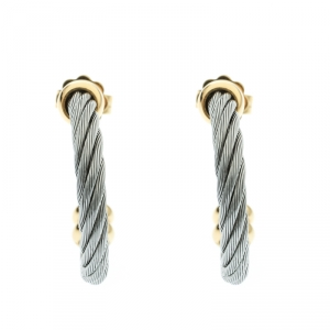 Charriol Twisted Cable Gold Tone & Silver Tone Hoop Earrings