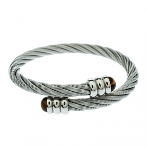 Charriol Celtic Tiger's Eye Twisted Cable Stainless Steel Adjustable Bracelet