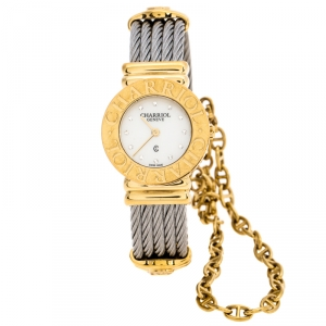 Charriol White Mother of Pearl Stainless Steel Gold Plated St-Tropez Ref.028/2 Women's Wristwatch 24.50 mm
