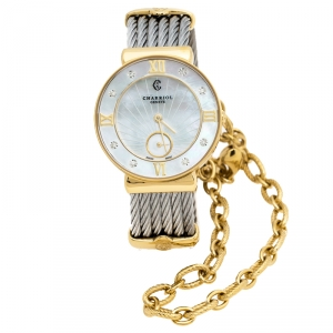 Charriol Mother of Pearl Yellow Gold Tone And Stainless Steel Diamonds ST-Tropez ST30.1 Women's Wristwatch 30 mm