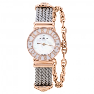 Charriol White Mother of Pearl Stainless Steel Diamonds Rose Gold Plated St-Tropez ST028.3 Women's Wristwatch 24.50 mm