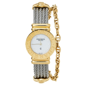 Charriol Mother Of Pearl Yellow Gold Plated Stainless Steel St-Tropez Ref.028/2 Women's Wristwatch 24.50 mm