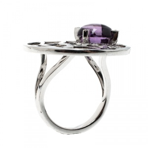 Chaumet Catch Me If You Love Me Amethyst Diamond 18k White Gold Cocktail Ring Size 53