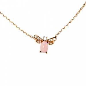 Chaumet Attrape-Moi...si tu M'aimes Diamond Pink Opal 18k Rose Gold Pendant Necklace