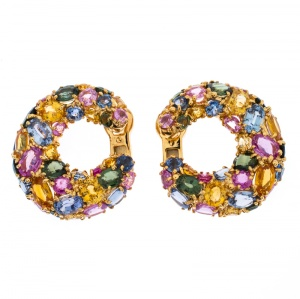 Chaumet Multicolor Sapphire 18k Yellow Gold Hoop Earrings