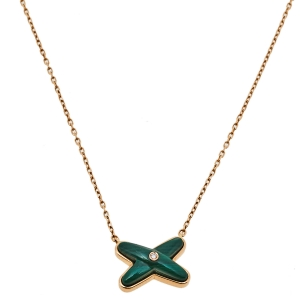 Chaumet Jeux de Liens Diamond Malachite 18K Rose Gold Pendant Necklace