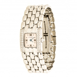 Chaumet Pinkish White Stainless Steel Diamonds Khesis 253813 Women's Wristwatch 21 mm