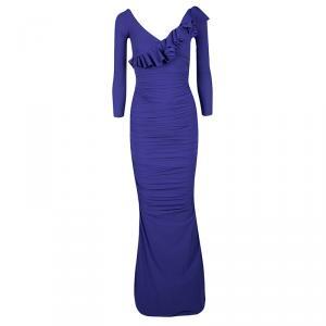 La Petite Robe Di Chiara Boni Purple Ruffle Detail Ruched Long Sleeve Maxi Dress S