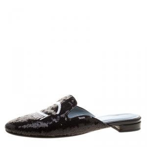 حذاء سلايدز فلات شيارا مزخرف ترتر مونوكروم مقاس 40