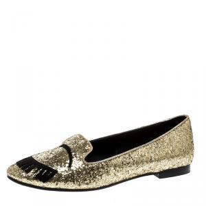 Chiara Ferragni Gold Glitter Flirting Ballet Flats Size 37