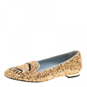Chiara Ferragni Gold Sequins Flirting Smoking Slippers Size 35