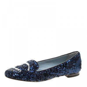 Chiara Ferragni Metallic Blue Sequins Flirting Smoking Slippers Size 35