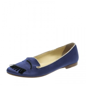 Chiara Ferragni Blue Satin Flirting Smoking Slippers Size 38