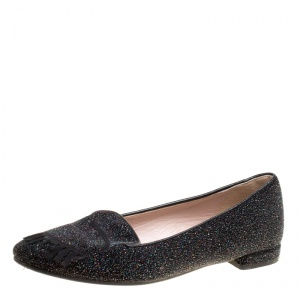 Chiara Ferragni Black Glitter Flirting Wink Eye Ballet Flats Size 36