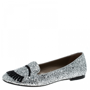 Chiara Ferragni Metallic Silver Coarse Glitter Flirting Smoking Slippers Size 39