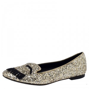 Chiara Ferragni Metallic Gold Coarse Glitter Flirting Smoking Slippers Size 37