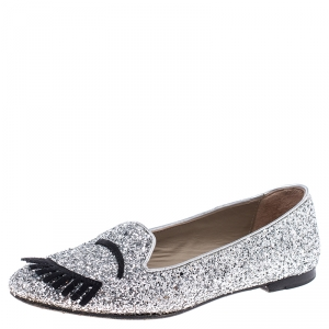 Chiara Ferragni Metallic Silver Coarse Glitter Fabric Flirting Smoking Slipper Flats Size 37