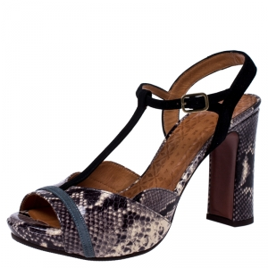 Chie Mihara Two Tone Python Embossed Leather And T Strap Platform Sandals Size 39
