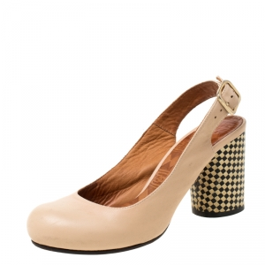 Chie Mihara Beige Leather Slingback Block Heel Pumps Size 36