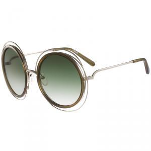 Chloe Gold Khaki CE120S Round Sunglasses