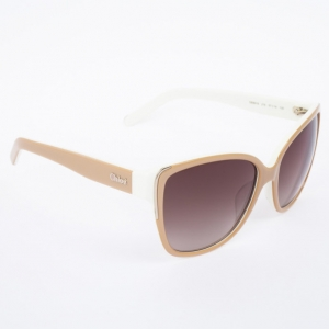 Chloe Beige and White 601S Cat Eye Women's Sunglasses