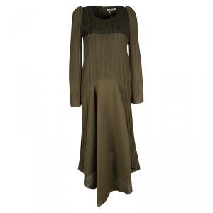 Chloe Light Khaki Plisse Long Sleeve Dress M
