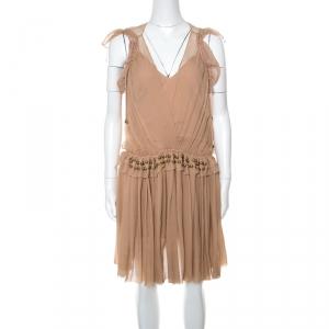 Chloe Pinky Beige Silk Crepon Pleated Embellished Dress S