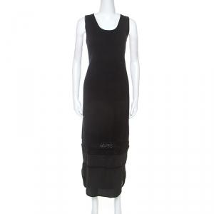 Chloe Black Knit Lace Detail Sleeveless Maxi Dress S