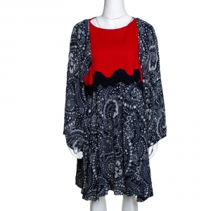 Chloe Navy Blue & Red Daisy Chain Print Lace Detail Short Dress L
