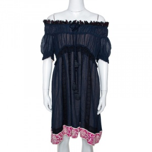 Chloe Navy Blue Embroidered Ruffle Crinkled Chiffon Off Shoulder Dress S