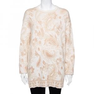 Chloe Beige Lurex Wool & Mohair Oversized Sweater M