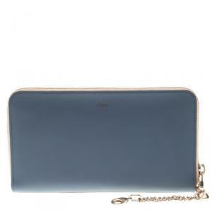 Chloe Stone Blue Leather Baylee Zip Around Wallet