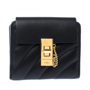 Chloe Black Quilted Leather Compact Drew Wallet
