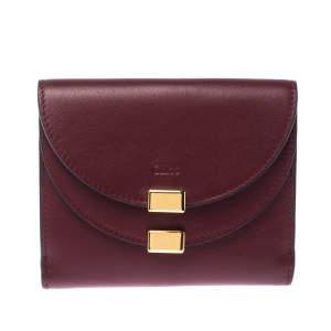 Chloe Burgundy Leather Drew Compact Wallet