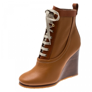 Chloe Brown Leather Lace Up Wedge Ankle Boots Size 38.5 - used