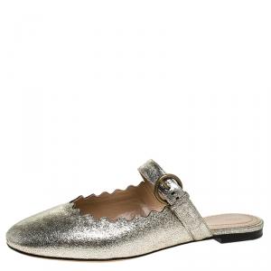Chloe Silver Foil Leather Lauren Buckle Strap Flat Slides Size 39.5