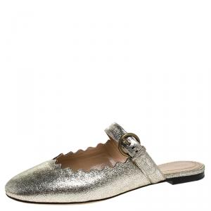 Chloe Silver Foil Leather Lauren Buckle Strap Flat Slides Size 39