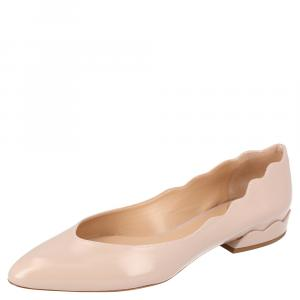 Chloe Beige Patent Leather Laurena Scalloped Textured Ballet Flats Size 37